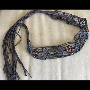 Women's brown beaded leather boho gypsy tie belt